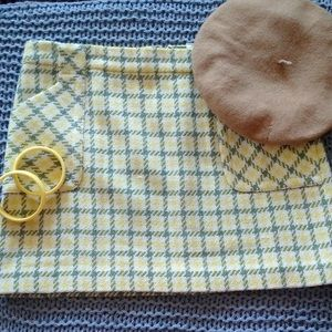 J. Crew green and yellow plaid mini skirt